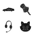 Police translation and other web icon in black vector image