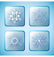 Set of winter icons with ornate snowflakes vector image