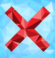 Polygonal background with x symbol vector image