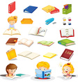 Students and their school supplies vector image