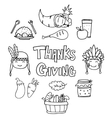 Collection thanksgiving element on doodles vector image
