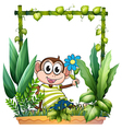 A monkey holding a flower vector image vector image