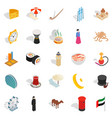 world food icons set isometric style vector image