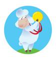 cartoon sheep holding gold medal vector image