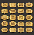 blank golden frame and label collection vector image