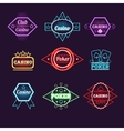 Neon Light Poker Club and Casino Emblems vector image
