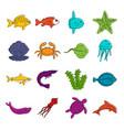sea animals icons doodle set vector image