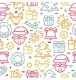 Christmas seamless pattern with line icons vector image