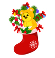 Christmas red sock with gifts isolated on white vector image vector image