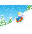 Child with an inflatable snow tube vector image