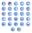 buttons with flags of the states of the European u vector image