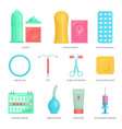 contraception methods cartoon icons vector image