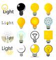 light lamp icons set cartoon style vector image