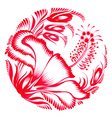 floral decorative ornament red hibiscus vector image vector image