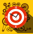 Circle clock face with cogs on background flat vector image