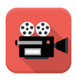 Movie camera flat app icon with long shadow vector image
