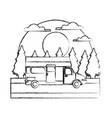 caravan car vehicle in the forest vector image