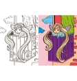 Colouring Book Of Angel Girl On Balcony vector image