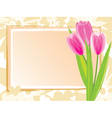 festive card with pink tulips vector image
