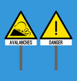 road sign avalanches snowslide or snowslip rapid vector image