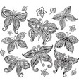 set of butterfly in doodle style vector image
