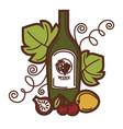 wine glass and grape vine fruit harvest vector image