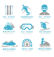 Ski resort and mountain hotel logo set with skiing vector image