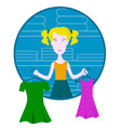 cartoon thoughtful woman holding two neckties and vector image