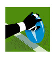 rugby player hand scoring a try on line vector image vector image