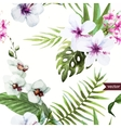 watercolor hibiscus orchid white palm vector image