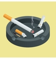 Black ceramic ashtray full of smokes cigarettes vector image