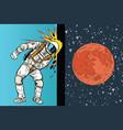 cosmonaut knocks head on the wall a dream to be vector image