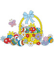 easter wicker basket vector image