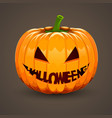pumpkin for halloween with text mouth vector image