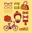 set of hipster vector image
