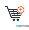 shopping cart icon with plus sign vector image