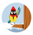 Happy Titmouse with Hat on the Tree winter flat vector image
