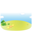 Green landscape and sky vector image