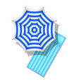 striped beach umbrella and air mattress vector image