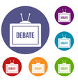 tv with the debate inscription icons set vector image vector image