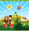 Happy family with house on sunny day on field vector image