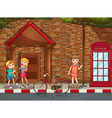Children on street vector image