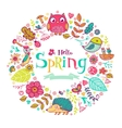 Hello Spring banner in doodle style vector image
