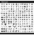black 182 universal web icons set on gray vector image