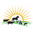 Farm animal silhouettes vector image