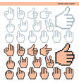 hand pixel icons vector image