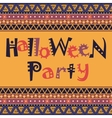 Happy Halloween card with African ornament design vector image