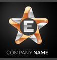 letter e logo symbol in the colorful star on black vector image