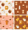 Set of seamless patterns with coffee items vector image