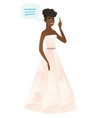 young african-american fiancee with speech bubble vector image